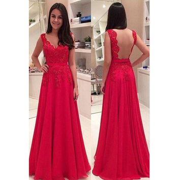Red Sexy Lace Graduation Party Dresses pst0176