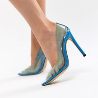 Public Desire Extra transparent blue court shoes at asos.com