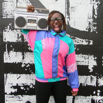 Vintage 80s Windbreaker Jacket, Purple, Teal Green and Bubblegum Pink Track Suit Top with Stripes, Hip Hop Party Zip Up Bomber, Size L Large