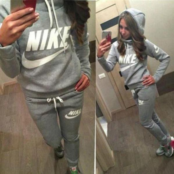 Image of Nike Adidas Casual Print Hoodie Top Sweater Pants Trousers Set Two-piece High quality Sportswear