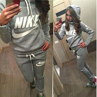 Nike Adidas Casual Print Hoodie Top Sweater Pants Trousers Set Two-piece High quality Sportswear