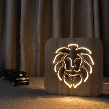 Wooden Lion LED Night Light for Kids Room