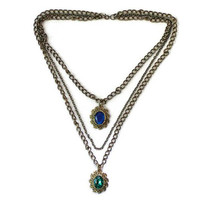 Multi Strand Chain Victorian Style Necklace, Gothic Jewelry