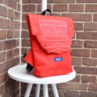 SAMPLE SALE Backpack hot red hipster backpack rucksack cycling bag waterproof small mini backpack Zurichtoren geometric simple minimal bag