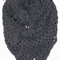"""DRY77 Knitted Fishnet Chain Loop Eternity Infinity Scarf, Red, 27"""" x 50"""""""