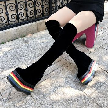Women Fashion Rainbow/Black Platform Over The Knee Boots