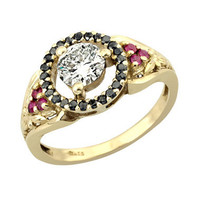 18K Gold Magnificent 1950's Inspired Multiple Diamond and Ruby Engagement Ring.