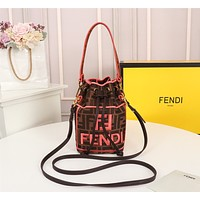 FENDI WOMEN'S LEATHER MINI BUCKET HANDBAG INCLINED SHOULDER BAG