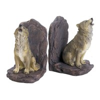 Howling Wolf Bookends -Set of 2