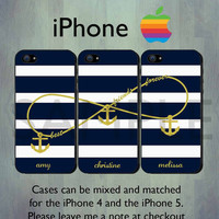 Nautical Infinity Best Friends Forever Blue Stripe iPhone case - Personalized GOLD Anchor iPhone 4 or iPhone 5 Case, Three Case Set