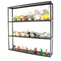 "Wall-Mounted Steel Shelving Unit - 36"" H x 36"" W x 6"" D - Black - for kitchen, storage, or display use."