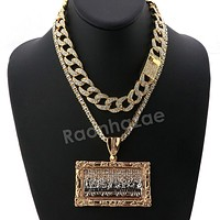 Hip Hop Quavo Last Supper Miami Cuban Choker Chain Tennis Necklace L44