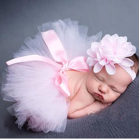 New Newborn Baby Girls Tutu Skirt Headband Set Chiffon Flower Hairband Infant Toddler Lace Band Photography Prop (Size: 0-6m, Color: Light pink) = 1946878788