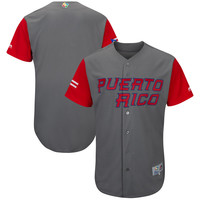 Men's Puerto Rico Baseball Majestic Gray/Red 2017 World Baseball Classic Cool Base Authentic Team Jersey