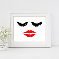 Lashes and lips print for dorm room, apartment, office, bathroom, or home decor