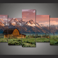 5 Pieces/set Barn in a Landscape Painting Wall Pictures for Living Room Painting on Canvas For Living Room Wall Pictures Artwork