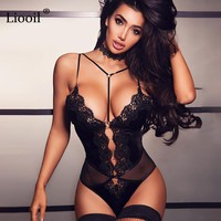 Liooil Sexy Club Black Lace Spaghetti Strap Bodysuit Women V Neck Backless Bodycon Skinny Hollow Out Party Bodysuits Overalls