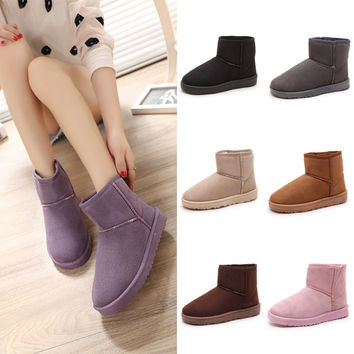 Vogue Women Winter Snow Boots Warm Ankle Flat Boots = 1946799364