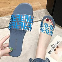 FENDI Summer Newest Fashion Women Casual Flat Transparent Candy Color Sandal Slippers Shoes Blue