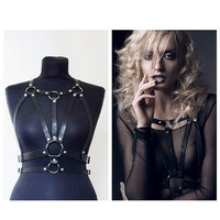 Hot Halter Real Leather Harness Handcrafted Body Bondage Bra Chest Caged Waist Belt Straps