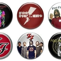 """Set of 6 New Foo Fighters 1.25"""" Pinback Button Badge Pin"""