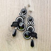 Dangle soutache earrings. Black handmade soutache jewelry.