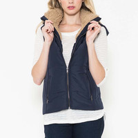 FUR LINED HOODED QUILTED VEST
