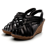 Summer Casual Women Wedges Sandals Cover Heel Roma Style Platform Sandals for Women Peep Toe High Heel Shoes X1352 35