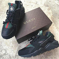 Gucci Drops the Air Huarache Ultra Sports shoes Black&green
