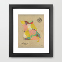 Missouri state map  Framed Art Print by bri.buckley