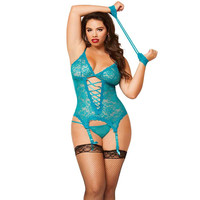 Plus Size Erotic Lace Lingerie Teddy With G String, Garters & Handcuffs