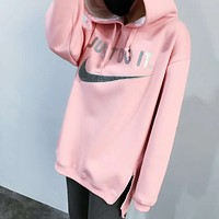 Nike autumn and winter men and women sweater hooded jacket F-HYLFZC Cherry pink
