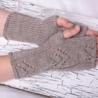 gray winter gloves hand warmers accessories fingerless gloves mittens Arm Mittens arm warmers wrist warmers knit