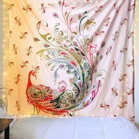 Fancy Red Gold Peacock Bird Boho Fabric Tapestry
