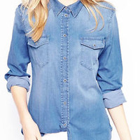 Women's High Quality Denim Jean Shirt Limited Quantity! _S,M,L Plus 1XL,2XL,3XL