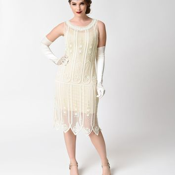 Unique Vintage 1920s Ivory Beaded & Sequin Steinway Flapper Dress