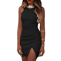 Women Sleeveless Short Mini Dress Split Bodycon Party Club A-Line Dress Red Pink Black ILML