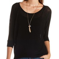 Open Knit Dolman Sleeve Top by Charlotte Russe