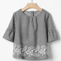 Gap Embroidered Ruffle Sleeve Top