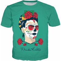Frida Kahlo Sugar Skull Green T-Shirt
