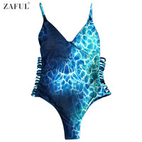 ZAFUL 2017 Sexy Plus Size One Piece Swimsuit Women Tie-dye Print Swimwear Bodysuit Sexy Cut Out Bathing Suits Monokinis Trikini