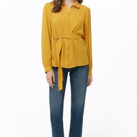 Belted Button-Front Shirt