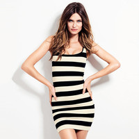 Black and White Stripes Sleeveless Bodycon Mini Dress
