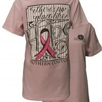Southern Couture There's No Place Like Hope Breast Cancer Pink Ribbon Awareness Girlie Bright T Shirt