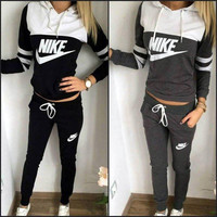 "Trendy ""NIKE"" Print Hoodie Top Sweater Pants Sets + Nice Free Necklace Gift"