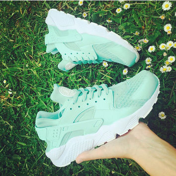 Mint Nike Huarache with white sole unisex customs.