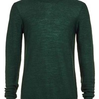 Premium Dark Green Ribbed Crew Neck Sweater - Men's Cardigans & Sweaters - Clothing