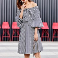 New fashionable simple striped shoulder-bare one-character shoulder Lantern Sleeve Silk Tie Waist Dress