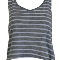 Bella Heather Grey and White Crop Tank - Buy Online at Grindstore.com