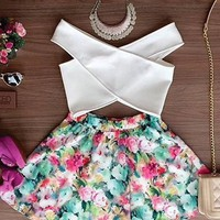 White Floral Cut Out 2-in-1 Cross Back Mini Dress